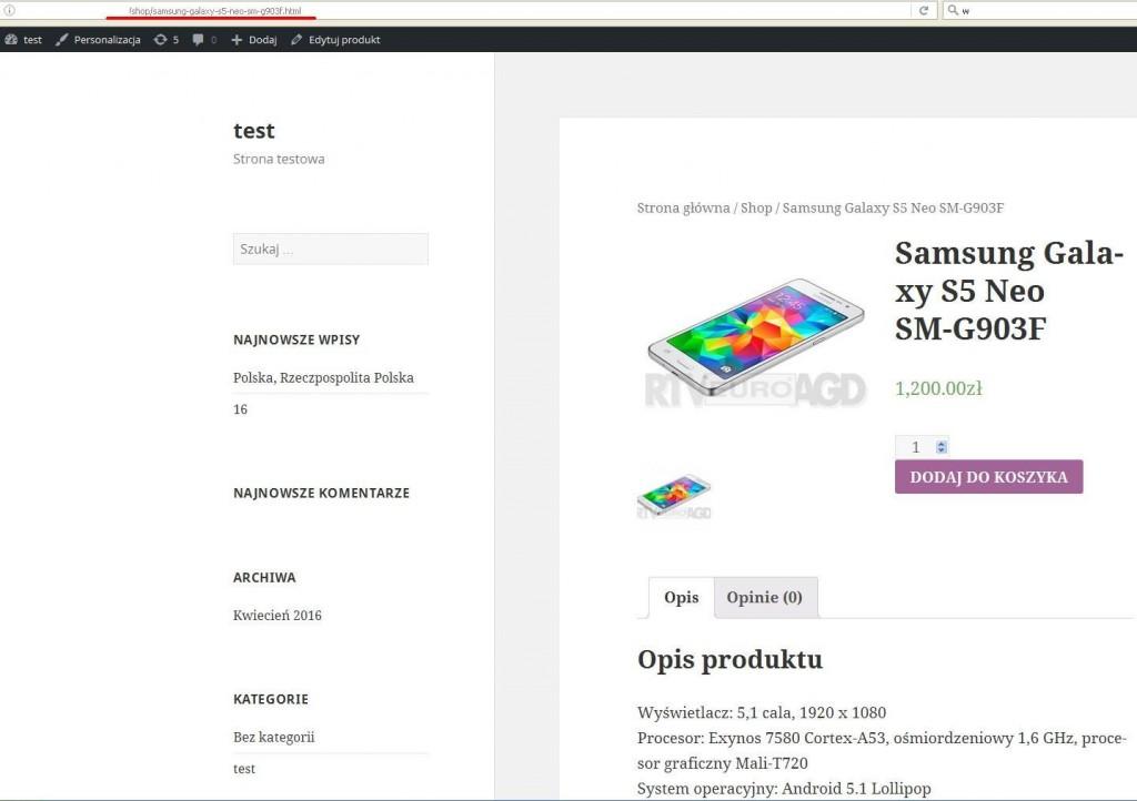 Odnośnik do produktu z końcówką .html