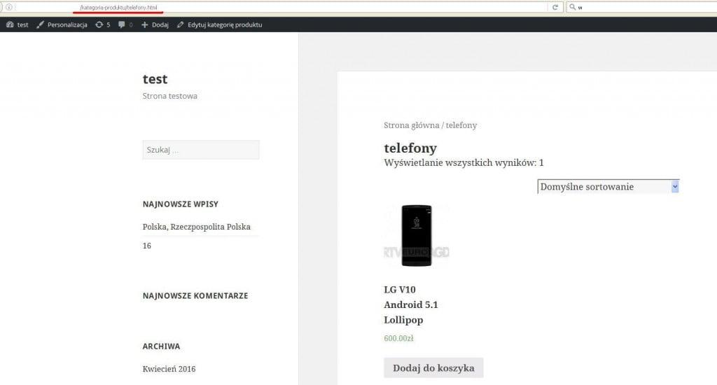 Odnośnik do kategorii produktu z końcówką .html