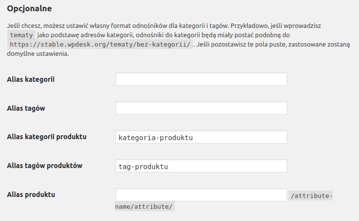 Ustawienie formatu odnośników do kategorii i tagów sklepu WooCommerce