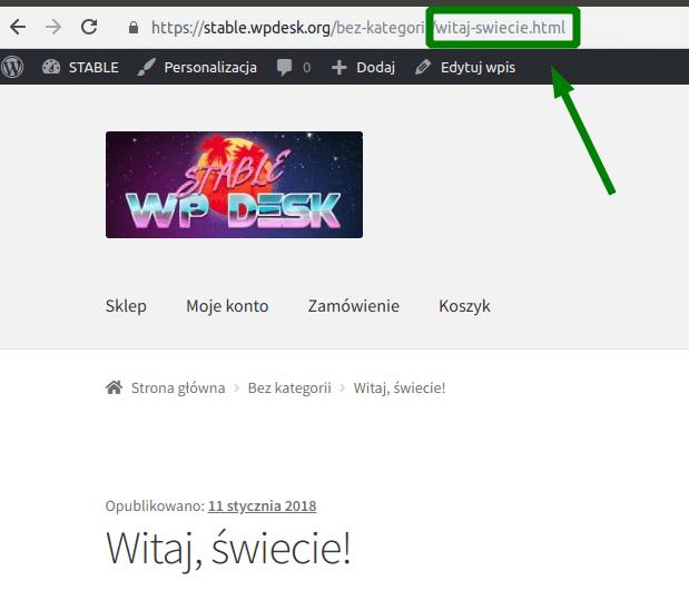 Odnośnik do wpisu z końcówką .html