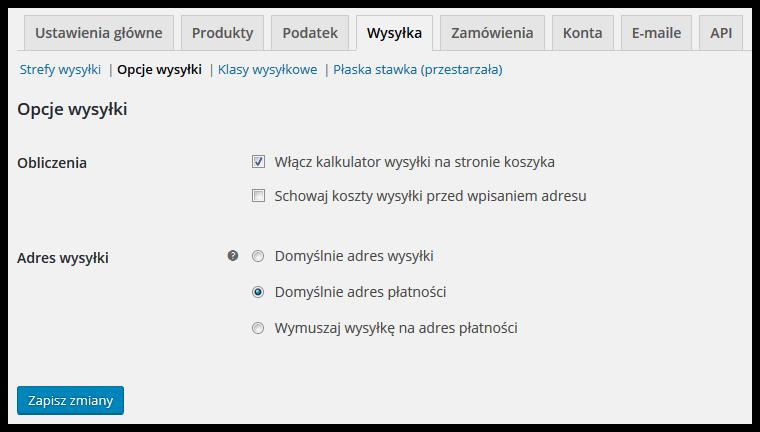 Opcje wysyłki WooCommerce