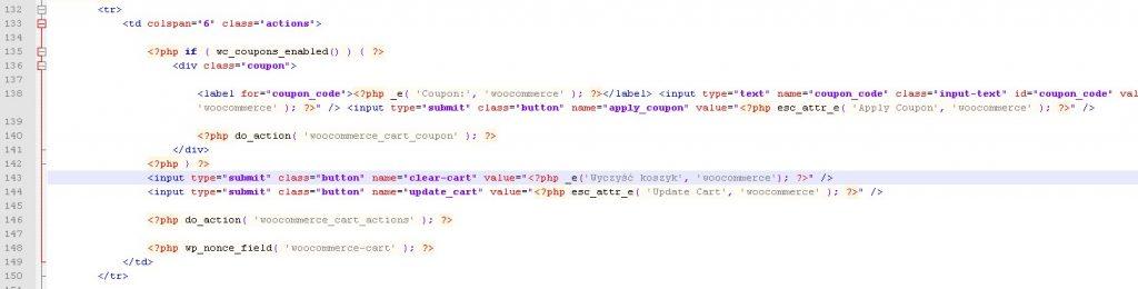 """Dodanie przycisku """"Wyczyść koszyk"""" do pliku cart.php"""