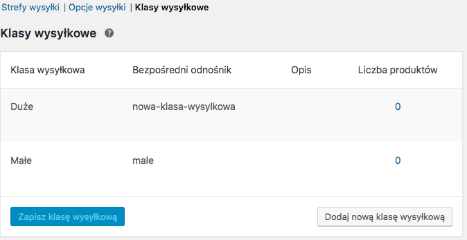 Klasy wysyłkowe WooCommerce