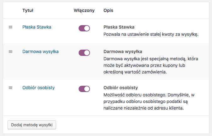Zarządzanie metodami wysyłki WooCommerce