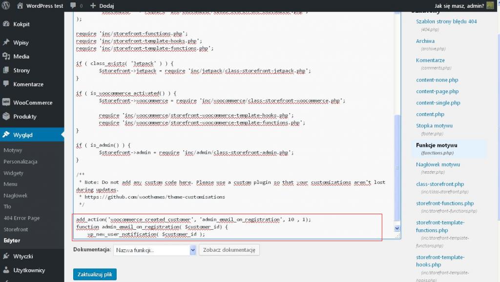 Modyfikacja pliku functions.php powiadomienia woocommerce