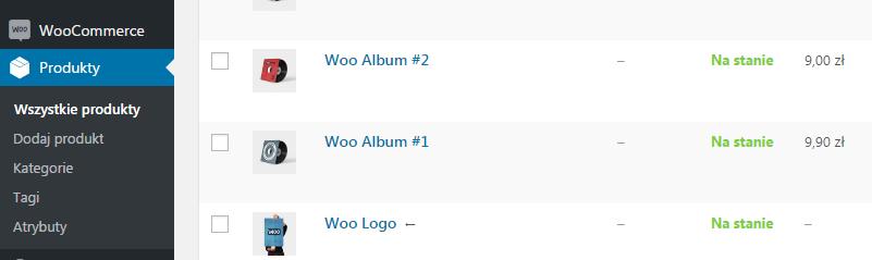 WooCommerce - lista produktów