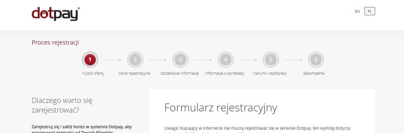 PayU VS Dotpay – Rejestracja w serwisie Dotpay