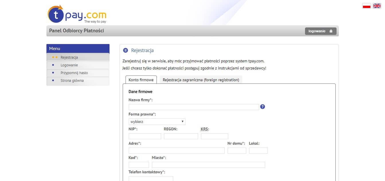 PayU VS Tpay – Rejestracja