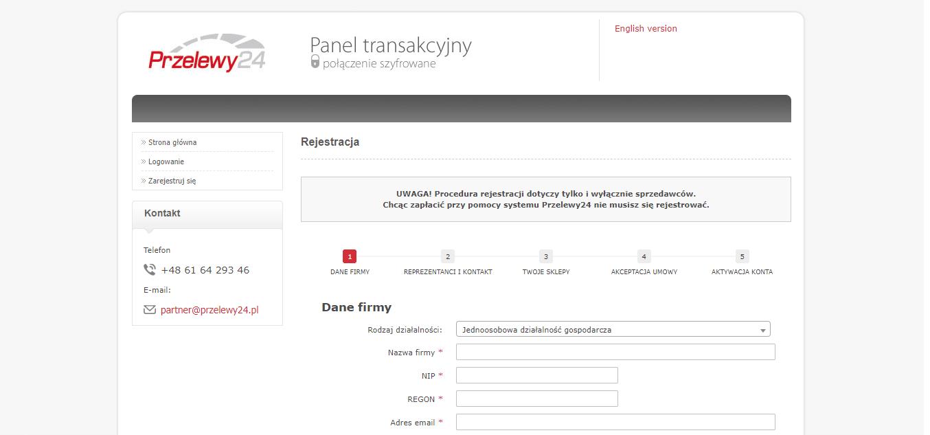 Przelewy24 vs Tpay - formularz rejestracyjny