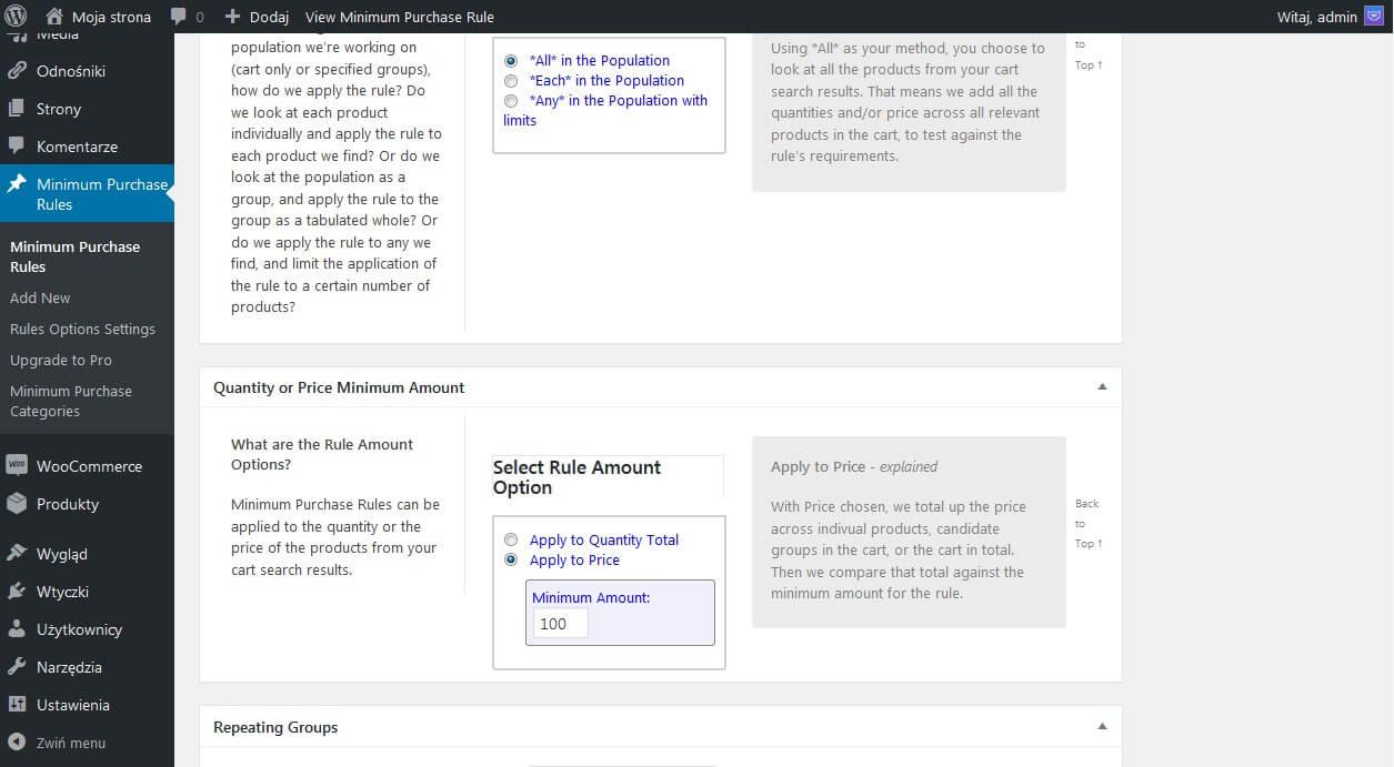 Tworzenia reguły dla minimalnego zamówienia na stronie - zrzut ekranu