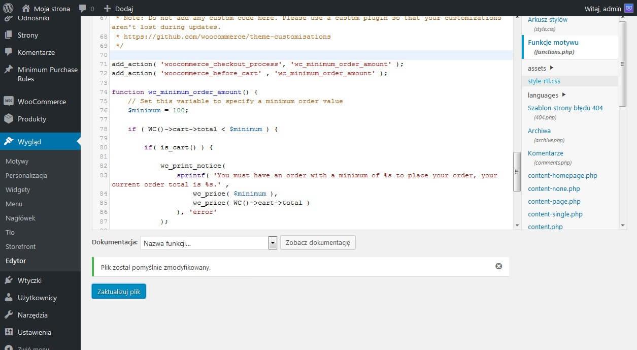 Minimalna kwota zamówienia - zrzut ekranu własnego kodu w pliku funtions.php