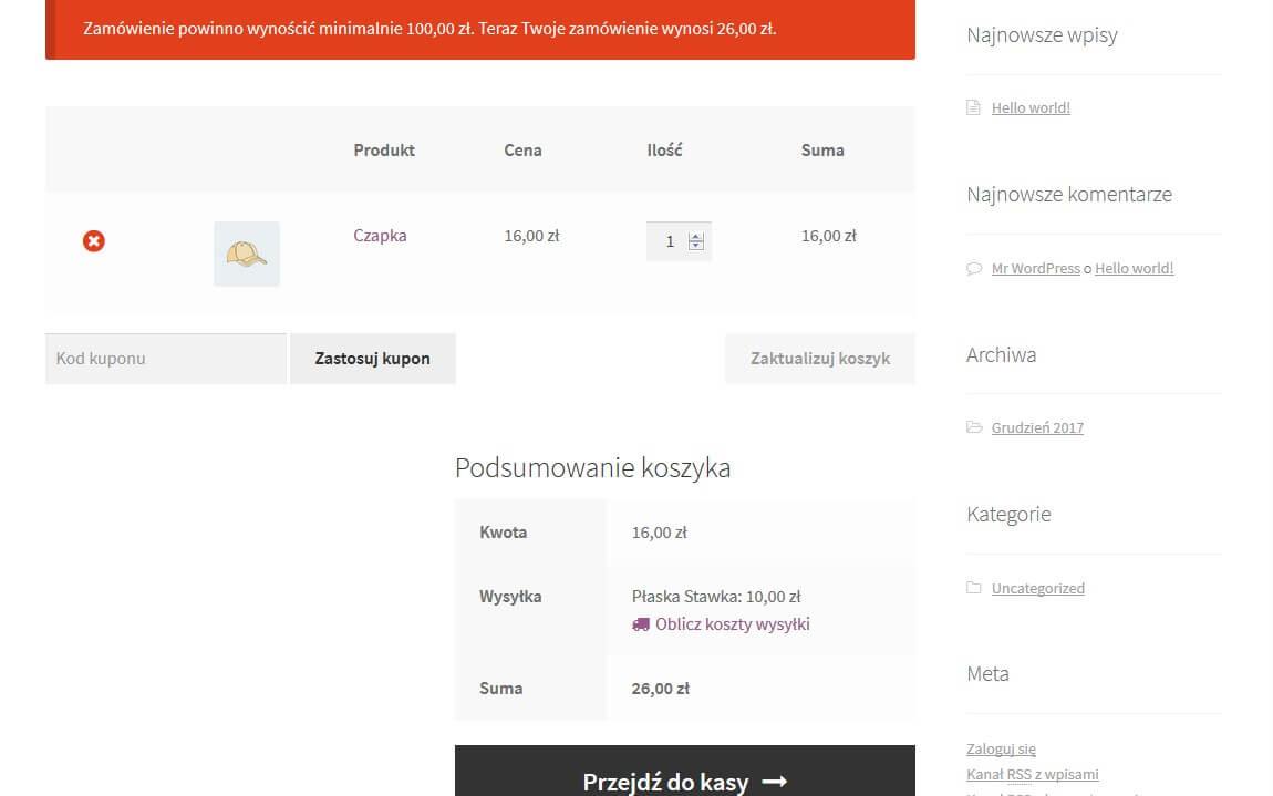 Powiadomienie o minimalnej kwocie zamówienia - zrzut ekranu