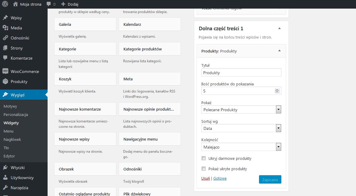 Ustawienia widgetu Produkty