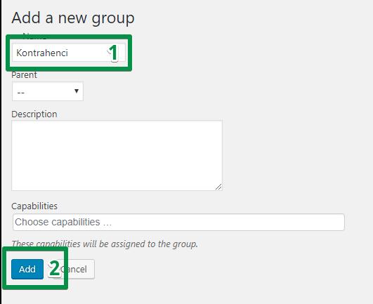 Add a new group - konfiguracja wtyczki