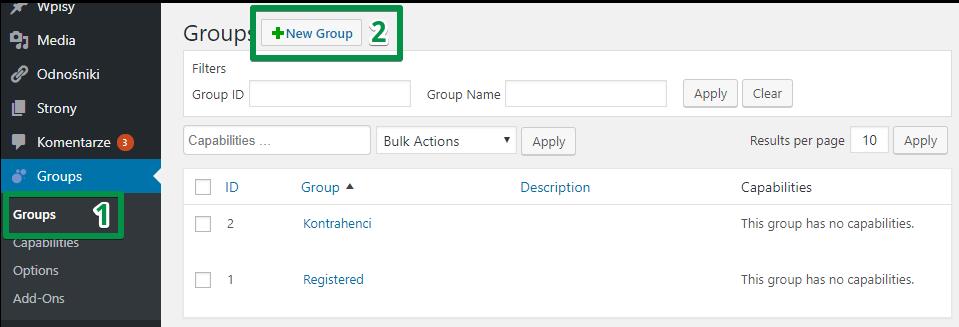 Konfiguracja wtyczki Groups