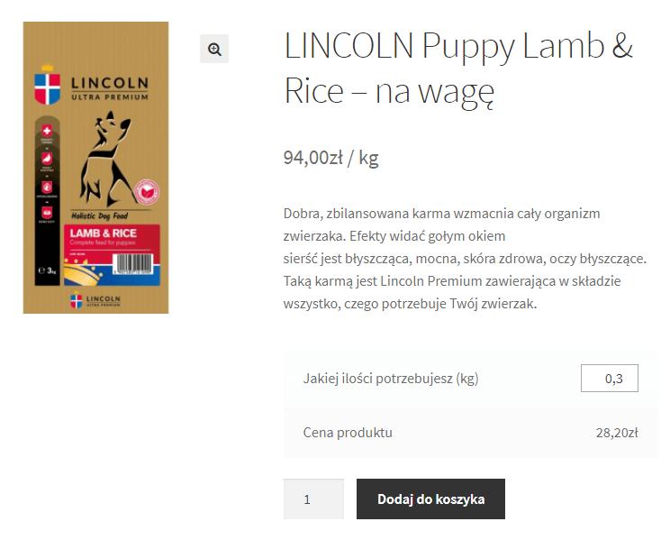 Strona produktowa: karma Lincoln