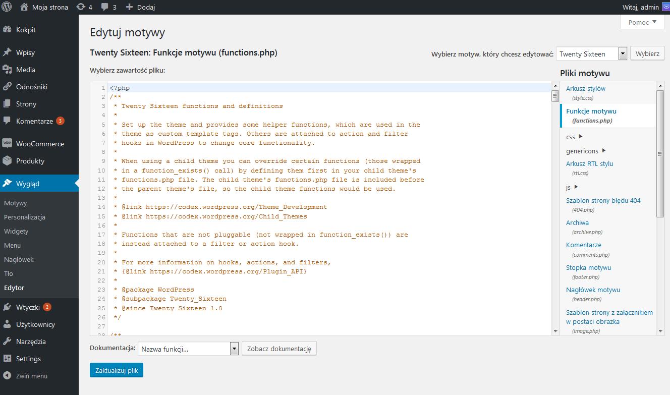 Edycja pliku functions.php motywu