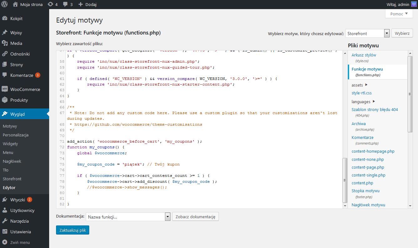 6. Edycja pliku functions.php