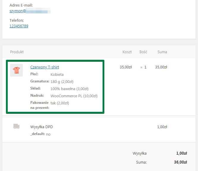 Sklep WooCommerce z koszulkami: podgląd zamówienia