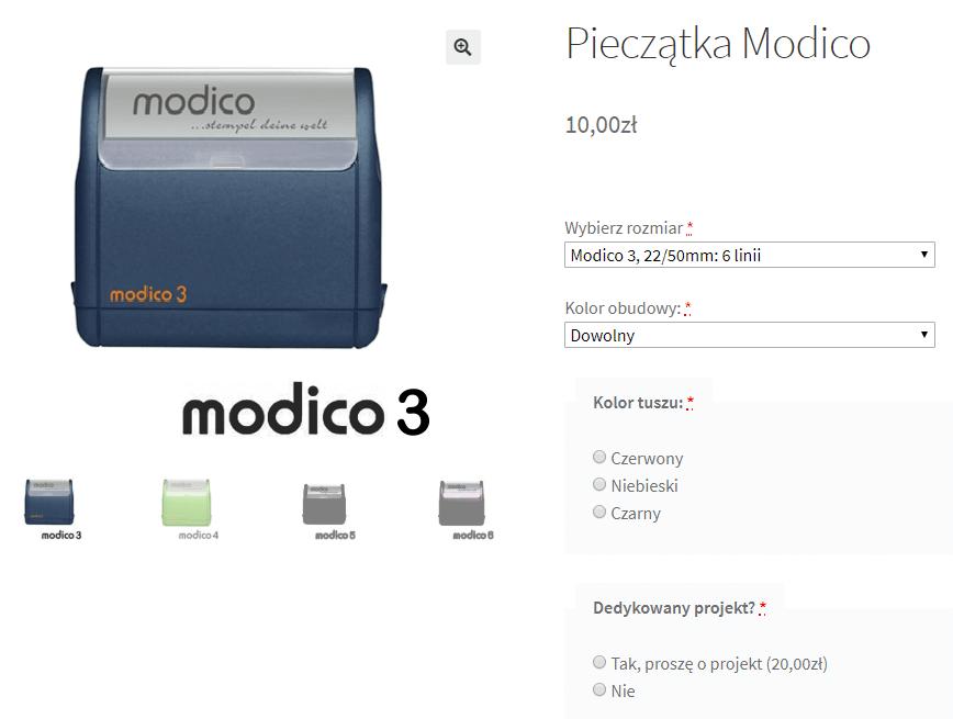 Pieczątka Modico - sklep WooCommerce z pieczątkami