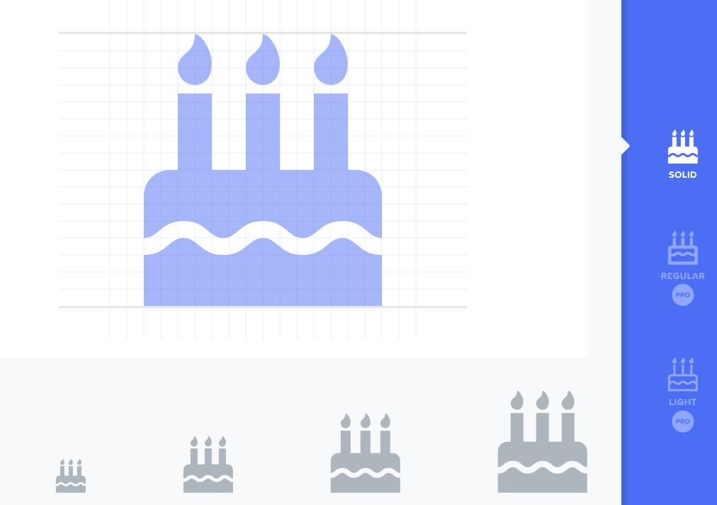 Ikona tortu urodzinowego na stronie Font Awesome