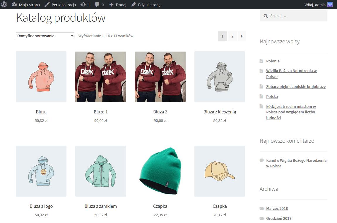 Strona katalogu z produktami