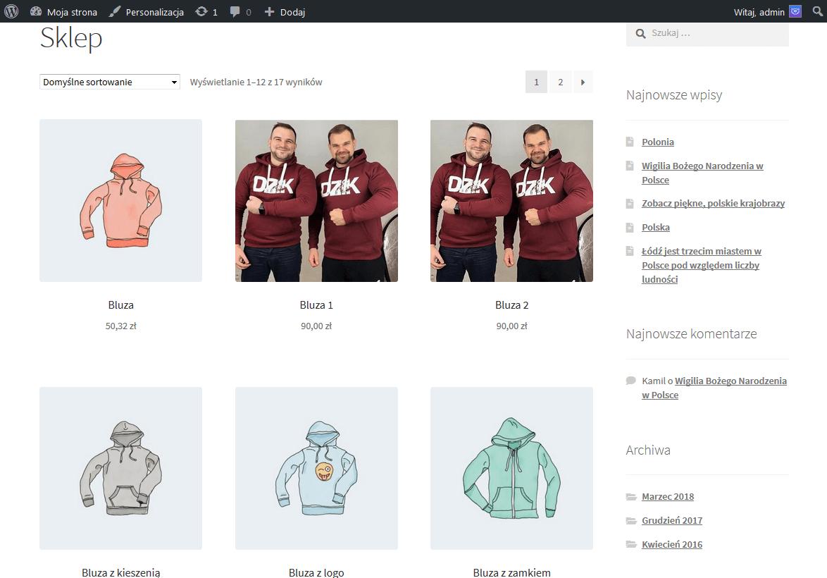 Strona sklepu z produktami