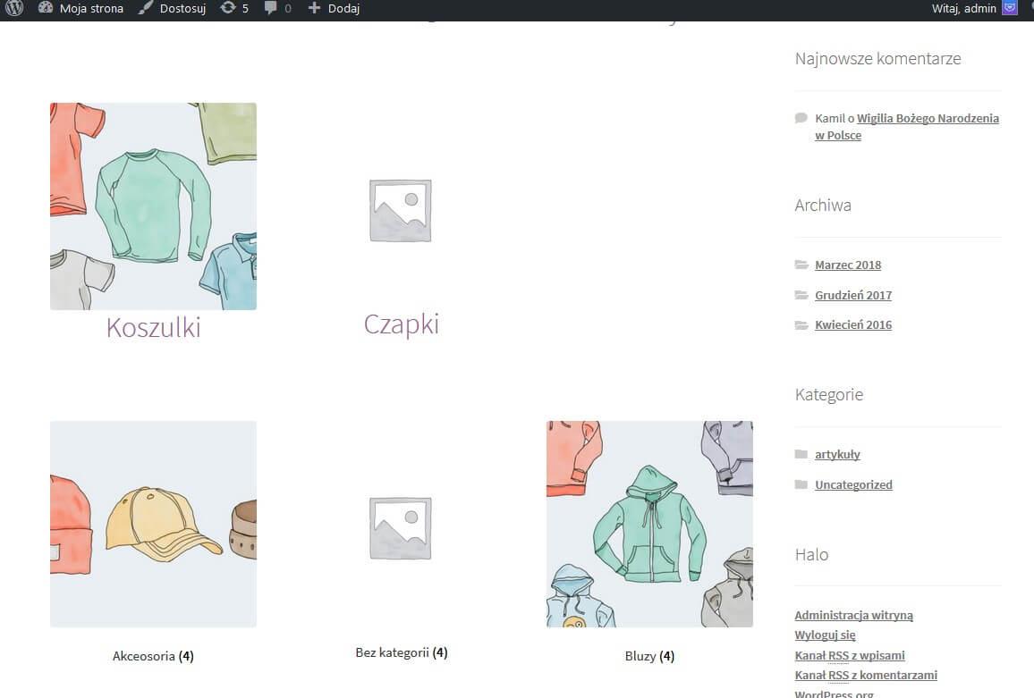 Podkategorie produktów a produkty na stronie sklepu
