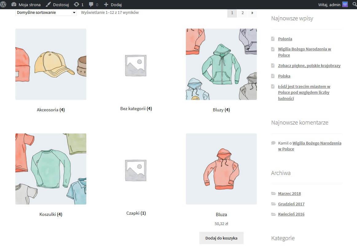 Wyświetlenie podkategorie i produktów na stronie