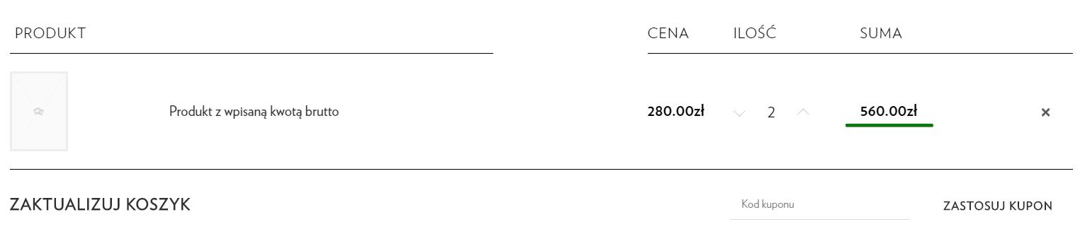 c956f9e7ddbc21 Jeśli wszystko jest skonfigurowane poprawnie to przy produkcie powinna  pojawić się prawidłowa cena brutto, czyli 280 zł. Dodaję dwie sztuki do  koszyka i ...